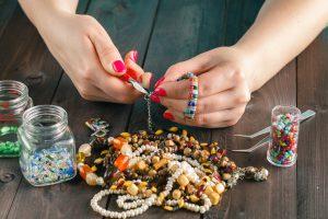 stringing beads on the needle